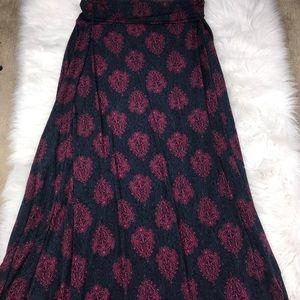 LuLaRoe Long Maxi Skirt In Maroon/Dark Blue Size L